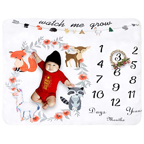 Fleece Baby Monthly Milestone Blanket Extra Large Photography Background Blanket Thick Backdrop Prop Swaddle Baby Shower Gift for Single & Twins (Animal Flower)