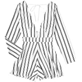 MakeMeChic Women's Deep V-Neck Striped Tie Back Sexy Jumpsuit Romper White S