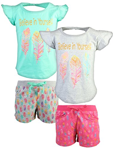 Real Love Girl's 4-Piece French Terry Short Sets, Believe in Yourself, Size 10/12' by Real Love