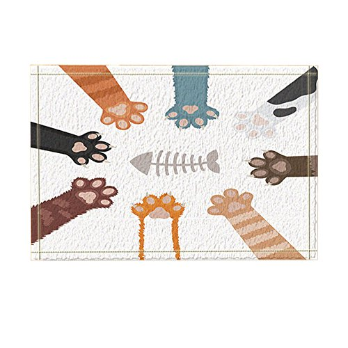 NYMB Animals Lover Decor, Cartoon Cats Paw Catch Fish Bones for Kids Bath Rugs, Non-Slip Doormat Floor Entryways Indoor Front Door Mat, Kids Bath Mat, 15.7x23.6in, Bathroom Accessories