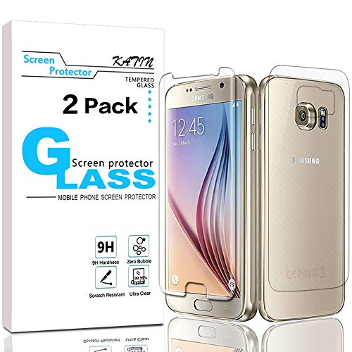 KATIN Galaxy S6 Tempered Glass Screen Protector (Front) and PET (Back) - Bubble Free 9H Hardness Easy to Install for Samsung Galaxy S6 (NOT S6 Edge) [2-Pack]