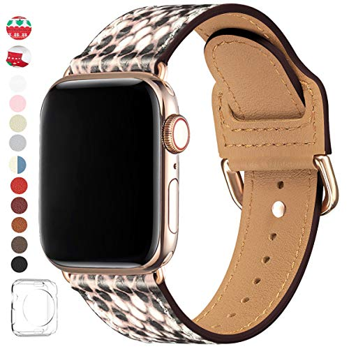 POWER PRIMACY Bands Compatible with Apple Watch Band 38mm 40mm 42mm 44mm, Top Grain Leather Smart Watch Strap Compatible for Men Women iWatch Series 5 4 3 2 1 (Snake Print/Gold, 42mm/44mm) (Watch Snake)