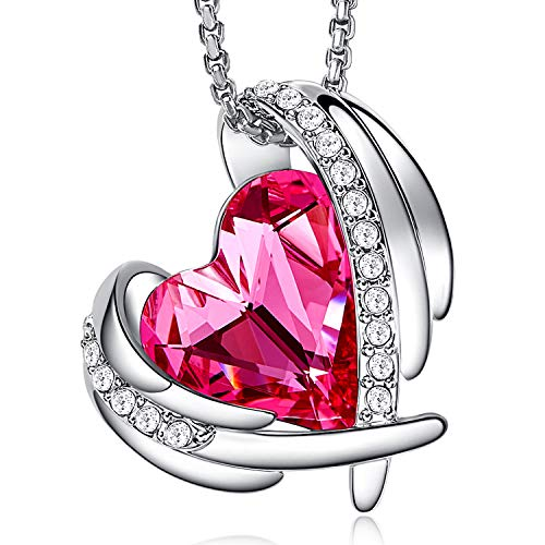 (CDE Jewelry Set for Women Girls Pink Angel 18K White Gold Plated Embellished with Crystals from Swarovski Pendant Necklace and Earrings Heart Shape for Mom Gift for Mothers Day)