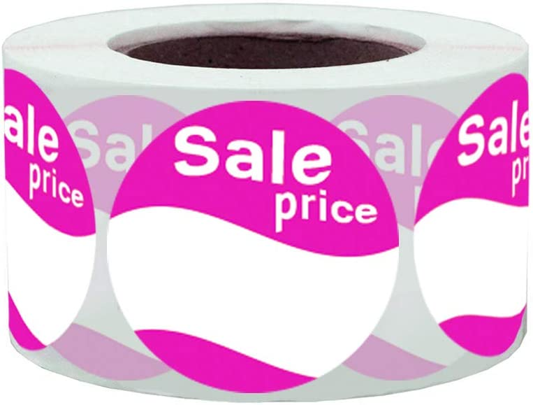 1.5 Inch Pink Round Permanent Adhensive Paper Stickers Total 500 Labels Per Roll Sale Price Labels Stickers