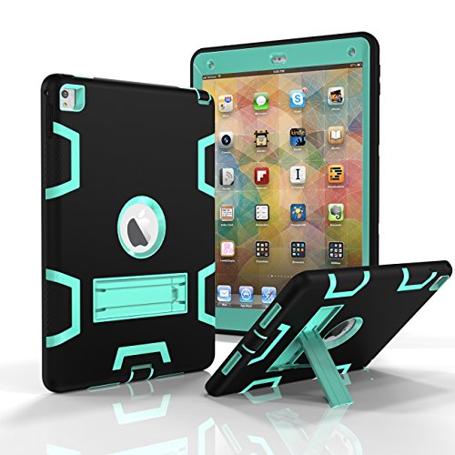 Ipad Air 2 Case  Tekcoo  Troyal Hy  Hybrid Shock Absorbing Heavy Duty Defender Rugged Silicone Hard Case With Kickstand Full Body Protective Cover For Apple Ipad Air 2Nd Gen  Ipad 6 Black Turquoise