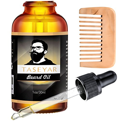 Beard Oil with Beard Comb Kit, TASEYAR Natural Beard Care Oils and Brush Moustache Grooming Kit Fragrance Free Leave-in Conditioner with Jojoba Oil for Beard Hair Growth, Mustache, Face and Skin, 30ml