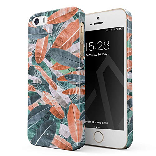 (BURGA Phone Case Compatible with iPhone 5 / 5s / SE Tropical Banana Tree Leaves Palm Leaf Exotic Colorful Palms Summer Thin Design Durable Hard Plastic Protective)