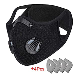 Dust Mask with 4Pcs Filters Sports Face Mask Reusable Activated Carbon Half Face Mask for Workout Running Motorcycle Mountain Bike Cycling Mask for Men and Women