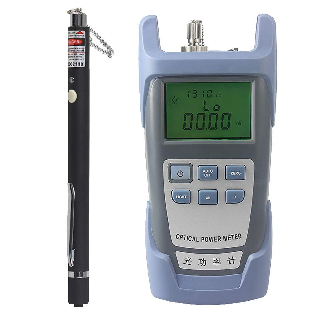 Prettyia Portable AUA-9 Optical Fiber Power Meter Tester Measure -70dBm~+10dBm + 10mW 10KM Visual Fault Locator Fiber Tester Detector Meter Pen Black