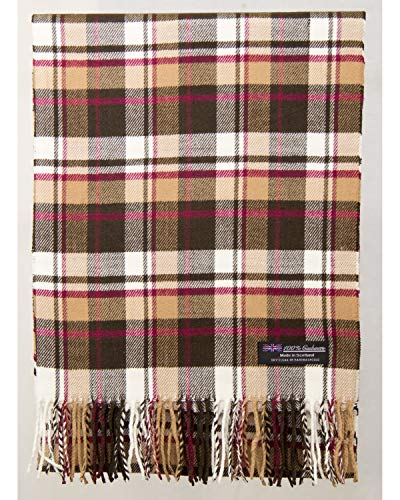 2 PLY 100% Cashmere Scarf Elegant Collection Made in Scotland Wool Solid Plaid Men Women (Beige Brown Off White Wine Red (Z72 Brown))
