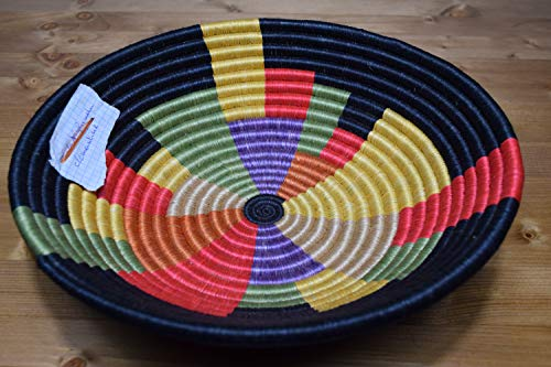 Hand Woven African Basket - Decorative Woven Bowl - Sisal & Sweetgrass Basket Handmade in Rwanda ~11.5'' - Fern Green, Crimson Red, Black, RB081