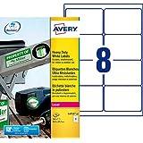 Avery 160 Etiquettes Autocollantes Ultra-Résistantes - 99,1x 67,7mm - Impression Laser - Blanc (L4715)