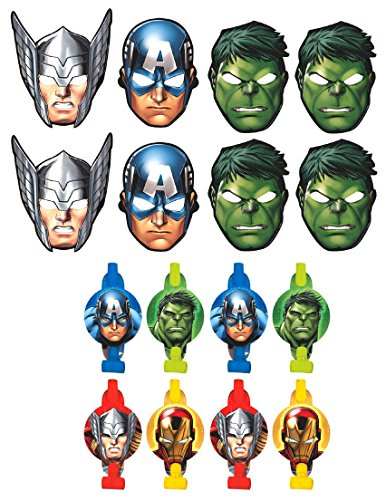 Marvel Avengers Birthday Party Favors Pack Including Blowouts, and Kids Party Masks - 8 Guests (Avengers Party Favours)