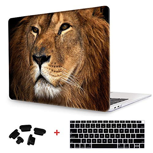 King of Forest Image Rubberized Clear Hard Laptop case + Keyboard skin + Dust plug For Macbook Air 13 (Models:A1369/A1466) - Lion Face (Laptop Case Lion)