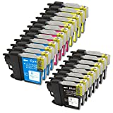 Ink & Toner Geek ® - 20 Pack Compatible Replacement Inkjet Cartridges for LC-61 LC61 XL (LC-61BK, LC-61C, LC-61M, LC-61Y) Black Cyan Magenta Yellow For Use With Brother DCP-165C DCP-375CW DCP-385CW DCP-395CN DCP-585CW DCP-J125 MFC-250C MFC-255CW