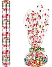 STOBOK Christmas Cellophane Wrapping Roll, Santa Claus Design Transparent Cellophane Paper 2. 5 Mil Thickness Christmas Decorative Cellophane Roll for Gifts Baskets Ornaments (3000x40cm)