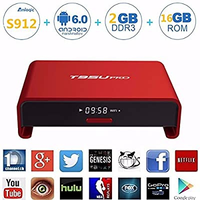 M.Way Aluminum 4K Android 6.0 TV Box S912 Octa Core 2GB RAM 16GB Flash Dual Band Wifi 2.4GHz 5GHz Bluetooth 4.0 Blue Ray Streaming Media Player Internet & Game Player
