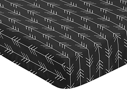 Sweet Jojo Designs Black and White Woodland Arrow Baby or Toddler Fitted Crib Sheet for Rustic Patch Collection