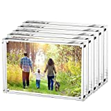 Boxalls Magnetic Photo Frame Clear Acrylic Picture Frames Double Sided, Stand in Desk, Table and Cabinet (3.5x5-Horizontal-5 Packs)