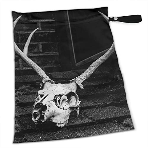 Pummbaby Halloween Grayscale Photo Skull Antler Workout Laundry Reusable Wet Dry Separation Travel Beach Gym Tote Bags Wet Dirty Clothes Wet Wipe Holder Diaper Packing Bag Pads Hanging