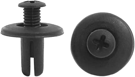 sourcing map 30 Pcs 8mm Trou Rivet Plastique Noir Attache Agrafe de Pare-Chocs