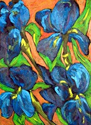Blue Iris Acrylic Painting 22 x 30 On Professional Watercolor Paper