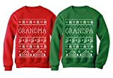 Tstars Grandma & Grandpa Matching Ugly Christmas Sweatshirts Set Grandparents Xmas Gift Grandma