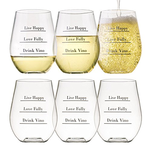 Avery Barn Tritan Wine Glasses Stemless With Saying | 6pc Set 12oz Unbreakable Shatterproof Acrylic Glassware Tumblers | BPA-Free Plastic | For Red White Wines | Boat & Pool Parties | Dish Washer Safe