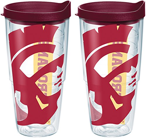 (Tervis 1238939 Usc Trojans Colossal Insulated Tumbler with Wrap and Maroon Lid 2 Pack-Boxed, 24 oz, Clear)