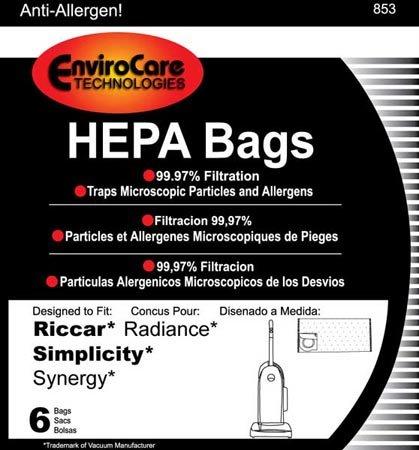 Riccar Upright HEPA Bag 6 Pack Bags Type X Radianc…