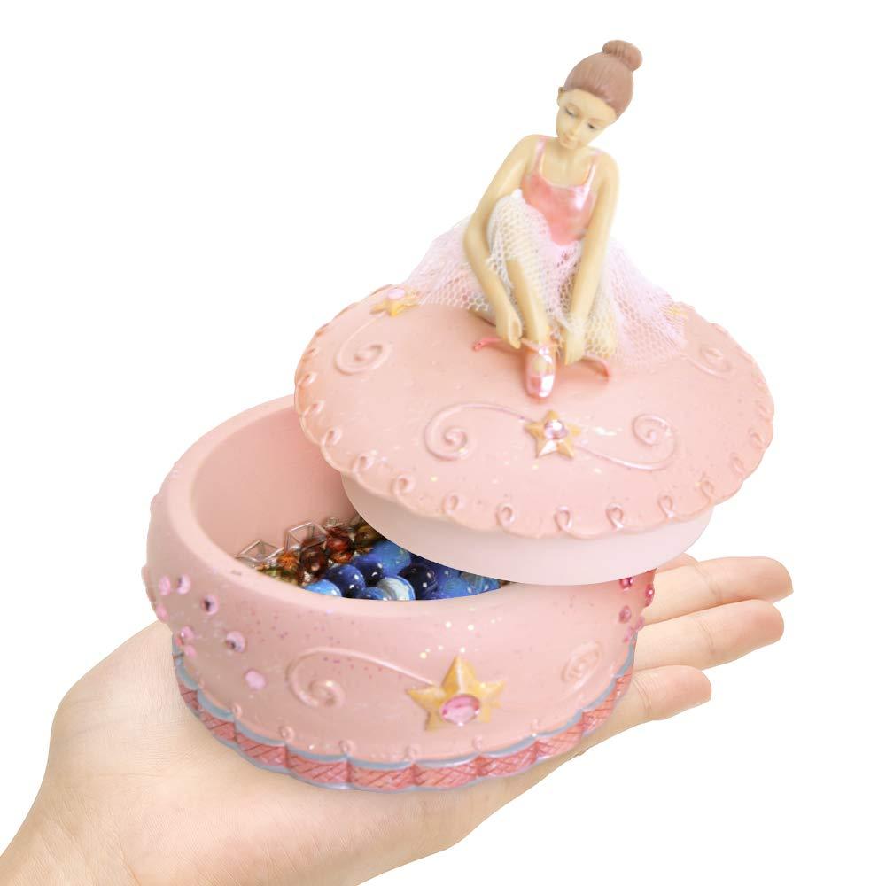 Girls Valentine Day for Kids Merchandise Classic Ceramic Treasure Bowl-Shaped Pink Best Gift Christmas Women mrwinder Girls Jewelry Music Box with Ballerina Friends
