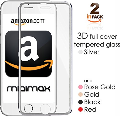 iPhone 7, 6, 6s 3D Screen Protector Glass with Titanum Edge Silver Full Cover [2-Pack] 4.7