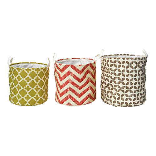 Elements Nesting Oval Printed Canvas Storage Baskets, Assorted Geometric, Set of 3