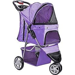 Paws & Pals 3 Wheeler Elite Jogger Pet Stroller Cat/Dog Easy Walk Folding Travel Carrier, Lavender Purple