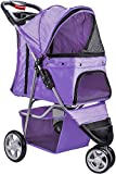 Paws & Pals 3 Wheeler Elite Jogger Pet Stroller Cat/Dog Easy Walk Folding Travel Carrier, Lavender Purple Review