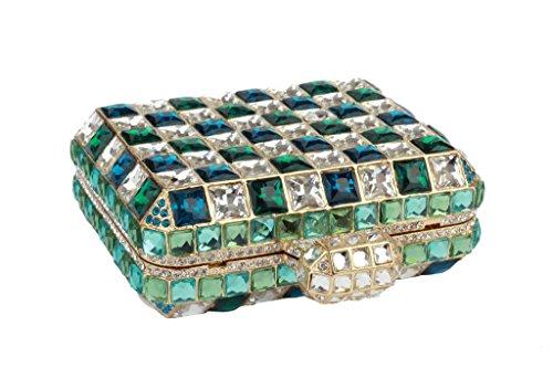 Yilongsheng Bolsos de las mujeres del diamante y de la plaza de novia embrague monederos Verde