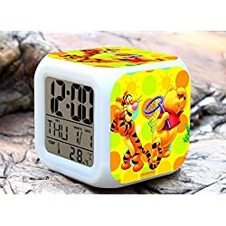 Cartoon Winnie the Pooh Digital LED 7 Changed Colorful Light Alarm Clocks Thermometer Night Electronic Kids Toys Best Gift for Children (Style 8)