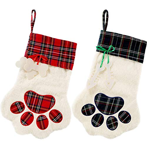 Jetec 2 Pieces Christmas Stockings Pet Paw Pattern Stockings Fireplace Hanging Stockings for Pet and Christmas Decoration (Red and Green)