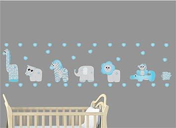 Blue Safari Elephant Baby Boy Nursery Wallpaper Border Wall Art Decals Kids Room