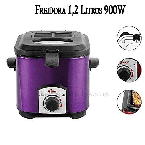 FREIDORA eléctrica 1 LITRO. Potencia 900W. Interior con recubrimiento antiadherente. Capacidad para alimentos 200-300 gr. Capacidad aceite 1, 2 litros.