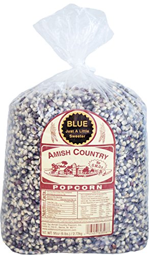 Amish Country Popcorn - Blue Popcorn- 6 lb Bag - Old Fashioned, Non GMO, Gluten Free, Microwaveable, Stovetop and Air Popper Friendly -with Recipe Guide and 1 Year Freshness Guarantee