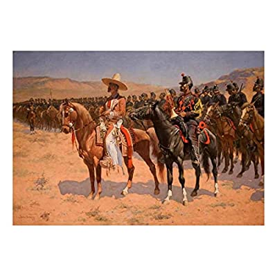The Mexican Major (The Wild West or The Troops) by Frederic Remington American Painter Country Western Peel and Stick Large Wall Mural Removable Wallpaper, Made With Love, Pretty Handicraft