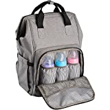 Ferlin Wide Open Design Baby Diaper Bag Backpack with Changing Pad & Insulated Pockets for Both Mom & Dad (Grey-0911)