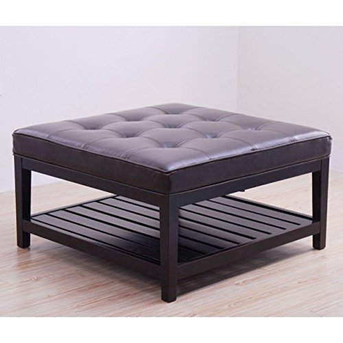Metro Shop Hudson Dark Brown Leather Ottoman