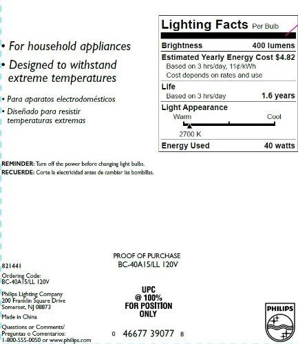 Philips 299990 Appliance Light Bulb, 40-Watt, A15 Glass Size, 1750 Hour Life, 1 Light Bulb