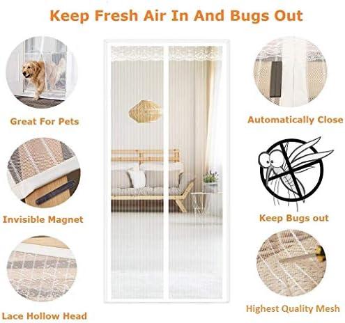 磁気ドアスクリーン、磁気はえの昆虫スクリーンのドアスクリーンのメッシュカーテン、あけないで取付けること容易な自動閉鎖(白いレース)