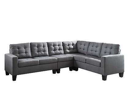 Acme Furniture 52760 Earsom Sectional Sofa, Gray Linen