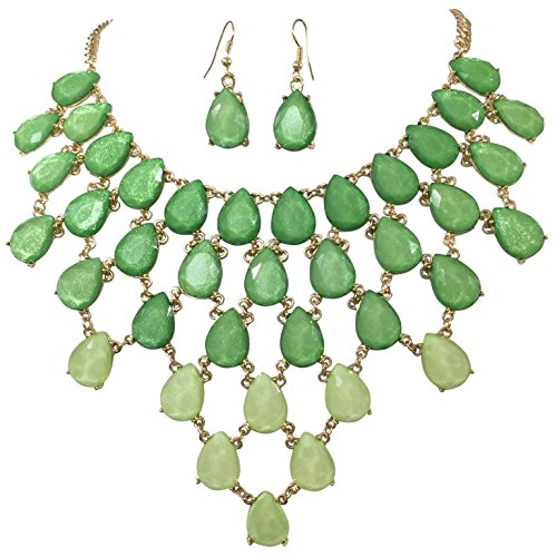 [Teardrop Cluster Statement Bib Boutique Style Necklace & Earrings Set - Assorted colors (Green] (Little Girl Gypsy Costumes)