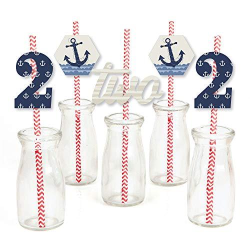 2nd Birthday Ahoy – Nautical – Paper Straw Decor – Second Birthday Party Striped Decorative Straws – Set of 24