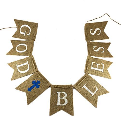 God Bless Burlap Banner – Christening, Holy Communion, Baptism Party – Home Decoration (Communion Party Ideas)